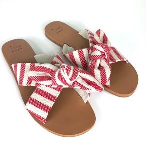 Livia Striped Knotted Bow Slide Sandal Red 6.5